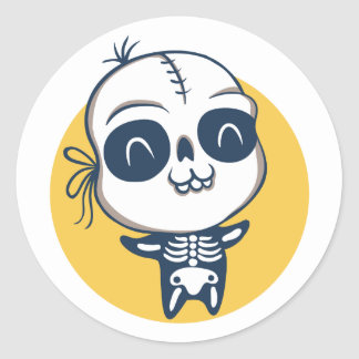 Etiqueta para o Dia das Bruxas com esqueleto