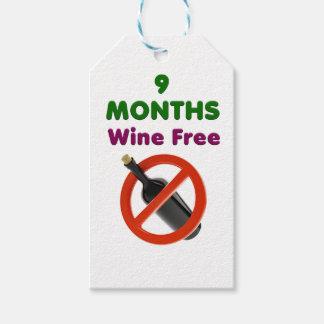 Etiqueta Para Presente 9 meses de vinho livram, mulher gravida, bebê da