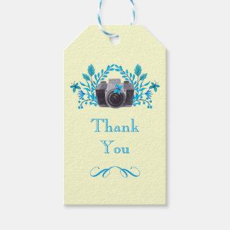 Etiqueta Para Presente A câmera com azul sae e borboletas obrigado você