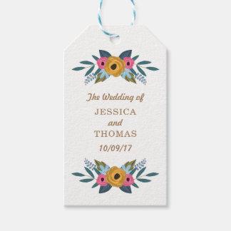 Etiqueta Para Presente A coleção branca do casamento da grinalda floral