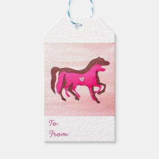 Etiqueta Para Presente A mão projetou o Tag cor-de-rosa do presente do