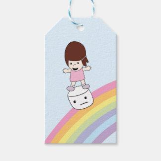 Etiqueta Para Presente A menina bonito surfa o arco-íris no Tag do