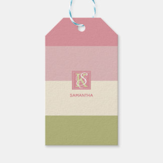 Etiqueta Para Presente A paleta de cores do verde do rosa do creme listra
