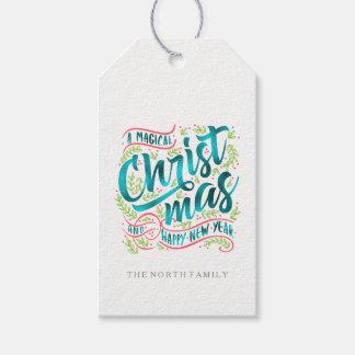 Etiqueta Para Presente A tipografia mágica do Natal listra a cerceta