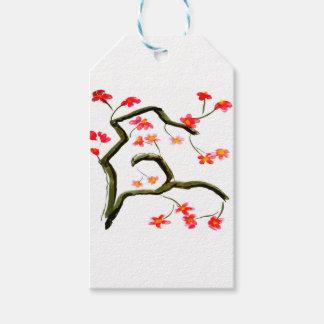 Etiqueta Para Presente Acento vermelho das flores de cerejeira