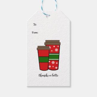 Etiqueta Para Presente Agradece a bebidas de um feriado de Latte