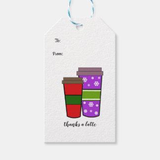 Etiqueta Para Presente Agradece a um Latte duas bebidas do feriado
