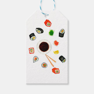 Etiqueta Para Presente Aguarela ajustada do sushi