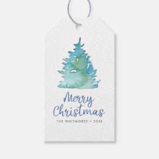 Etiqueta Para Presente Aguarela da árvore de Natal