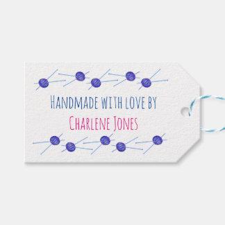 Etiqueta Para Presente Agulhas de confecção de malhas azuis, handmade