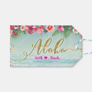 Etiqueta Para Presente ALOHA do hibiscus tropical da praia do ouro favor
