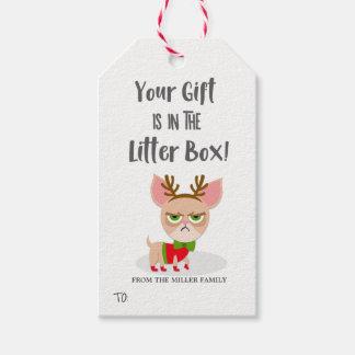 Etiqueta Para Presente Amante engraçado do gato do Natal