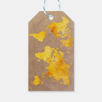 Etiqueta Para Presente amarelo do mapa do mundo