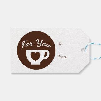 Etiqueta Para Presente Amor Brown e copo de café branco do coração -