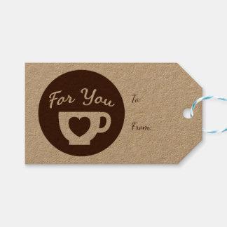 Etiqueta Para Presente Amor Brown e copo de café branco dos corações -