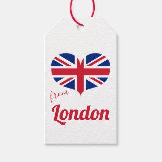 Etiqueta Para Presente Amor da bandeira BRITÂNICA dada forma coração