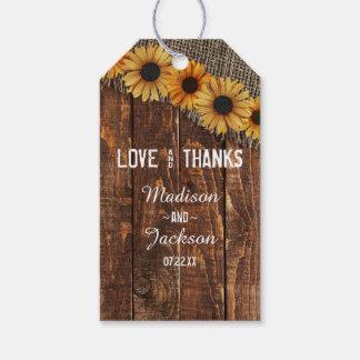 Etiqueta Para Presente Amor de madeira rústico & obrigados do casamento