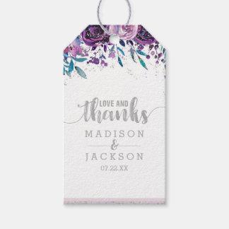 Etiqueta Para Presente Amor & obrigados roxos do casamento floral & de