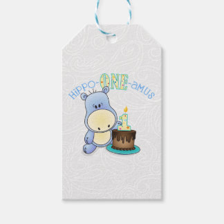 Etiqueta Para Presente Aniversário do amus do Hipopótamo-Um primeiro