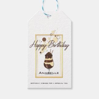 Etiqueta Para Presente Aniversário elegante da bebida da baunilha do