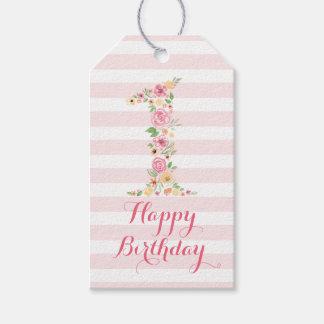 Etiqueta Para Presente Aniversário floral cor-de-rosa da aguarela um