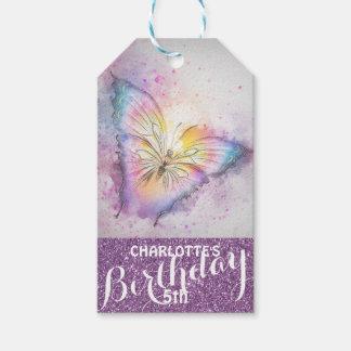 Etiqueta Para Presente Aniversário roxo personalizado da borboleta do