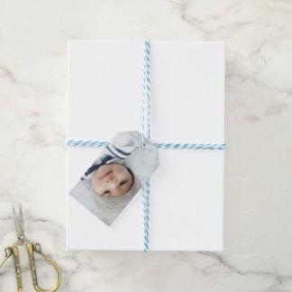 Etiqueta Para Presente Anúncio do nascimento com a foto recém-nascida