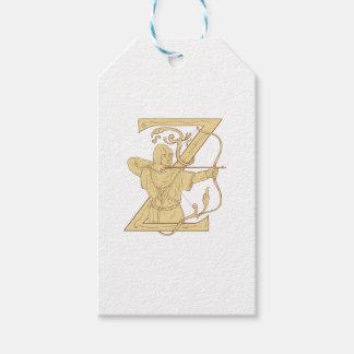 Etiqueta Para Presente Arqueiro medieval que aponta o desenhar da letra Z