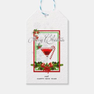 Etiqueta Para Presente Arte da aguarela do cocktail do Natal