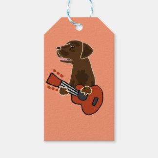 Etiqueta Para Presente Arte engraçada da guitarra de labrador retriever