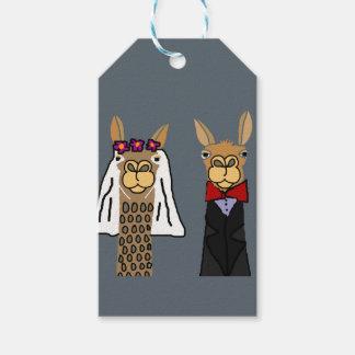 Etiqueta Para Presente Arte engraçada do casamento dos noivos do lama