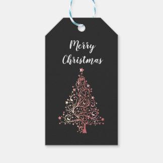 Etiqueta Para Presente árvore cor-de-rosa do ouro do Feliz Natal moderno