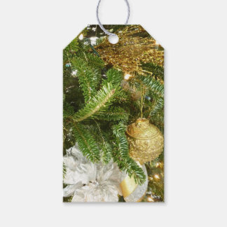 Etiqueta Para Presente Árvore de Natal da prata e do ouro mim feriado