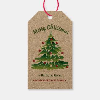 Etiqueta Para Presente Árvore de Natal original no verde vermelho no