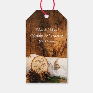 Etiqueta Para Presente Árvore de vidoeiro rústica e Tag de madeira do