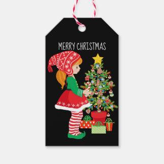 Etiqueta Para Presente Árvore do duende e de Natal da menina do Feliz