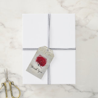 Etiqueta Para Presente Árvore vermelha da folha do coração sob as
