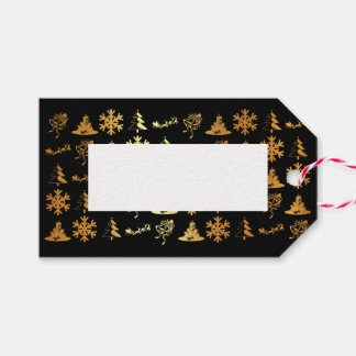 Etiqueta Para Presente As figuras luxuosas presente do Natal do preto e