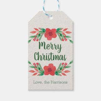 Etiqueta Para Presente As flores do Natal personalizaram Tag do presente
