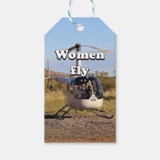 Etiqueta Para Presente As mulheres voam: Helicóptero 2 (brancos)