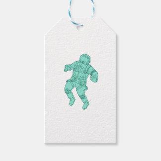 Etiqueta Para Presente Astronauta que flutua no desenho do espaço