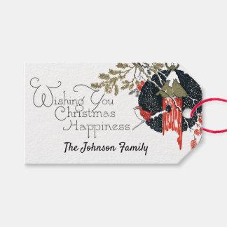 Etiqueta Para Presente Azevinho do Birdhouse do Natal do Victorian do