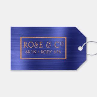 Etiqueta Para Presente Azuis cobaltos cor-de-rosa da safira do ouro que