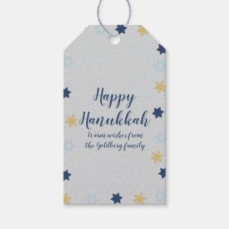 Etiqueta Para Presente Azul bonito da estrela de David | e ouro Hanukkah