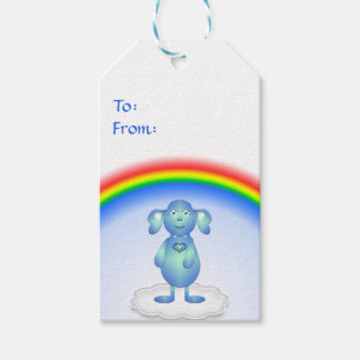 Etiqueta Para Presente Azul de bebê e o arco-íris
