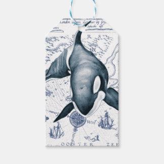 Etiqueta Para Presente Azul do mapa da orca