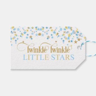 Etiqueta Para Presente Azul & ouro pequenos do chá de fraldas dos gêmeos