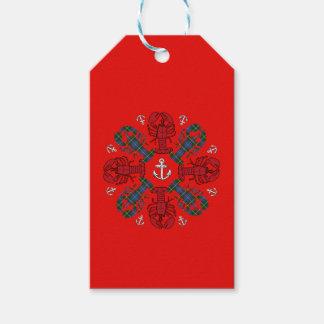 Etiqueta Para Presente Azul vermelho de N.S. Natal da âncora do floco de