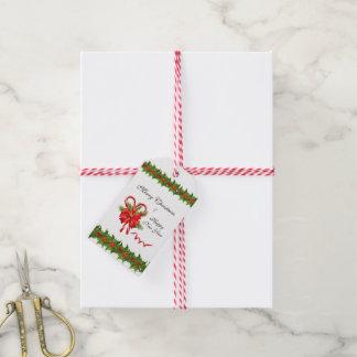 Etiqueta Para Presente Bagas Natal do azevinho e bastões de doces