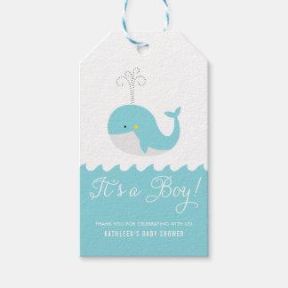 Etiqueta Para Presente Baleia bonito do bebê azul é um Tag do chá de